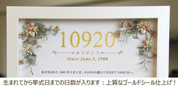 生まれてから挙式日までの日数が入ります。上質なゴールドシール仕上げ!